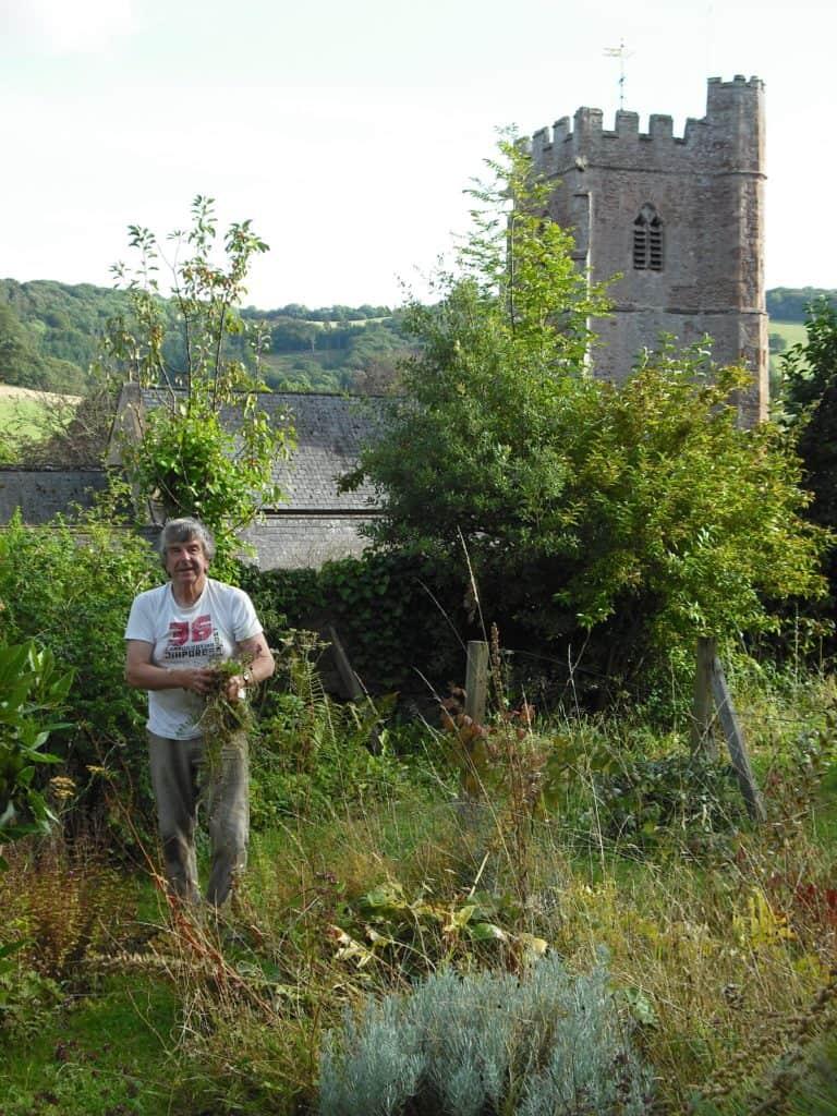 Robin Oakley working in the kitchen garden at Nettlecombe
